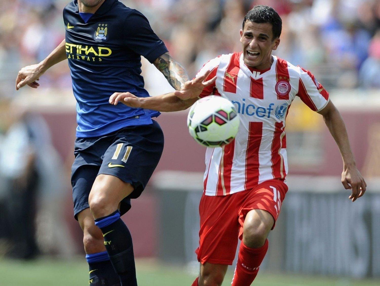 SCORET: Omar Elabdellaoui satte inn sitt første mål for Olympiakos i 4-0-seieren mot Kerkyra.