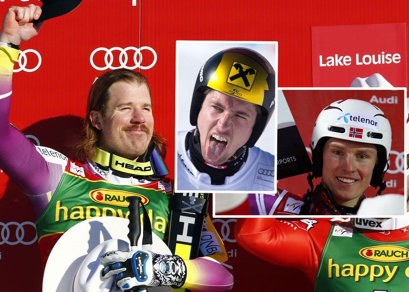 FAVORITTENE: Kjetil Jansrud (til venstre) leder verdenscupen, mens Marcel Hirscher (i midten) vant i fjor. Kjetil André Aamodt tror Henrik Kristoffersen også kan blande seg inn.