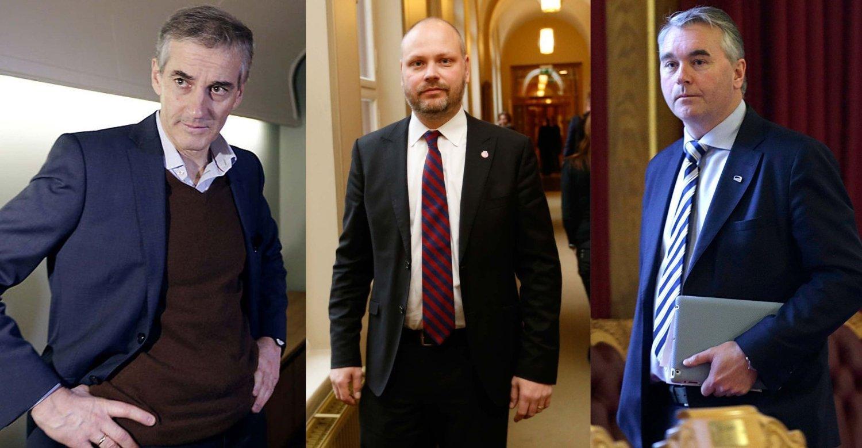 KRITISKE: Norske politikere er kritiske til hvordan svenske politikere har håndtert innvandringsdebatten. Her er (fra venstre) Jonas Gahr Støre (Ap), Kristian Norheim (Frp) og Trond Helleland (H).