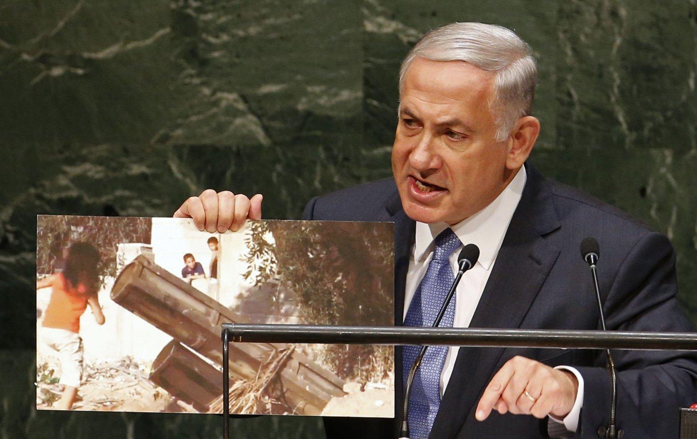 Stadig flere amerikanere mener det beste er om Israel - her representert ved statsminister Benjamin Netanyahu - og Palestina blir én felles stat.