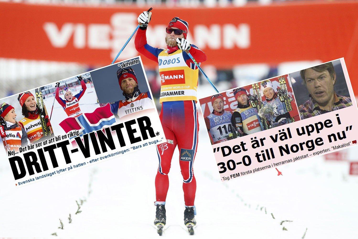 NORSK JUBEL: De svenske avisene er ikke i topphumør etter at de norske langrennsløperne gjorde rent bord under verdenscuphelgen på Lillehammer.