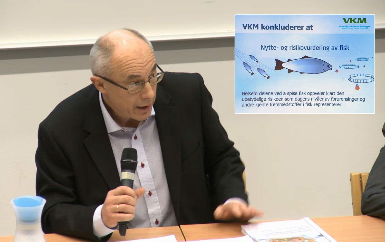 Administrerende direktør Harald Gjein i Mattilsynet friskmelder oppdrettsfisk etter å ha fått rapport fra Vitenskapskomiteen for Mattrygghet.