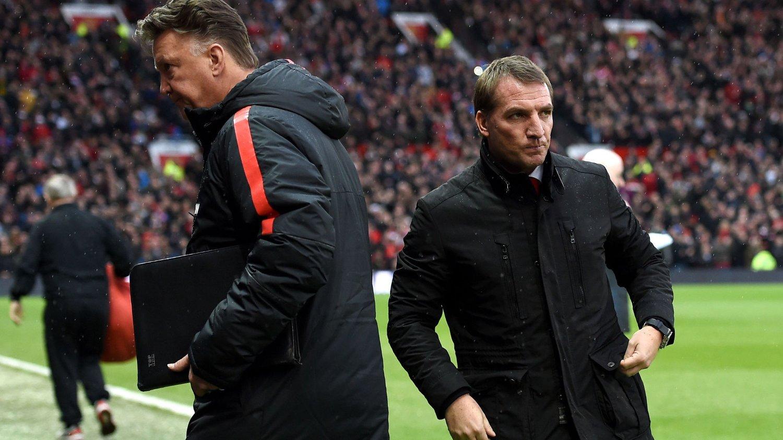 POPULÆRE: Liverpool-manager Brendan Rodgers og Manchester United-manager Louis van Gaal blir trolig hyppig omtalt av Nettavisens sportsbloggere fremover. Nettavisen satser stadig hardere på meningsinnhold om sport og idrett.