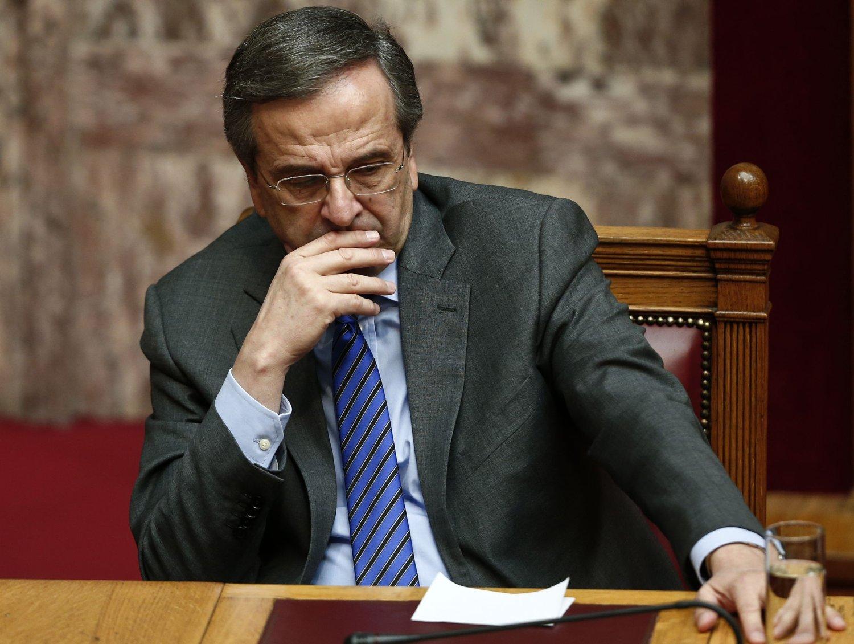 HÅPER: Den greske statsministeren Antonis Samaras håper trusselen om nyvalg og mulig økonomisk kaos kan bli avverget. Foto: Reuters / NTB scanpix