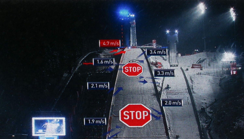 STOPPET: Vær og vind gjorde det etter hvert umulig å gjennomføre det første hoppukerennet i Oberstdorf.