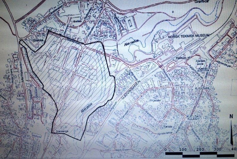 Frysja:Plan- og bygningsetaten har utarbeidet en foreløpig plan for området de betegner som Frysja. Kart: Plan- og bygningsetaten