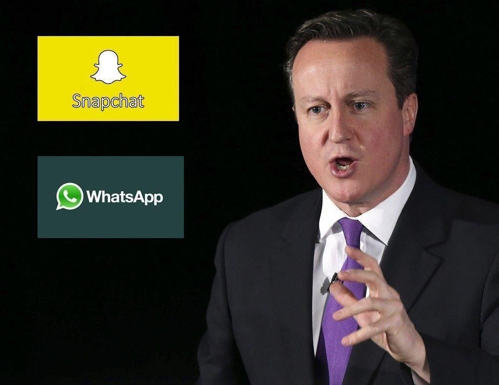 Populære WhatsApp og Snapchat blir forbudt i Stobritannia dersom David Cameron vinner valget i mai.