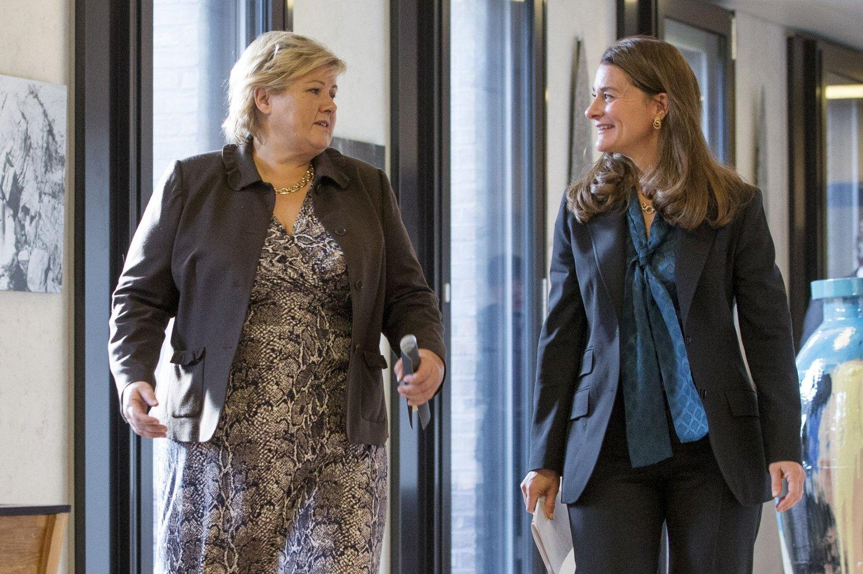 Statsminister Erna Solberg (H) møtte Melinda Gates fra stiftelsen Bill and Melinda Gates Foundation på Statsministerens kontor