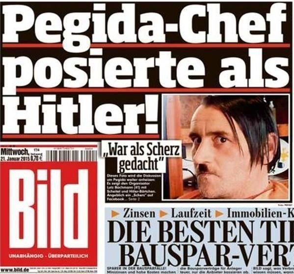 Her poserer Pegida-sjefen med Hitler-bart.