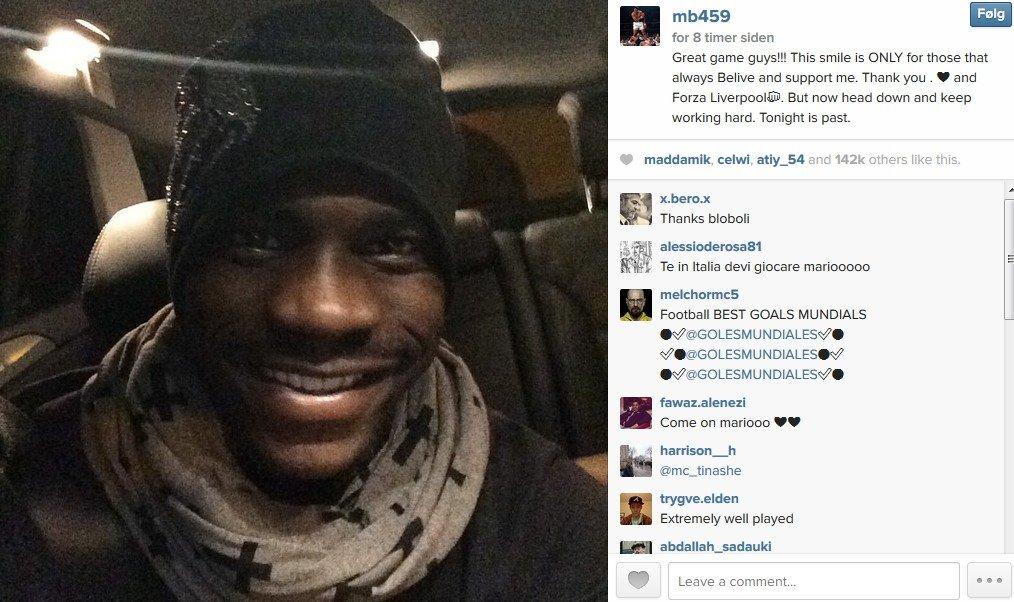 SMIL: Mario Balotelli var tilbake som matchvinner. Det ser det ut som han var fornøyd med på sin Instagram-profil. FOTO: Skjermdump Instagram / mb459