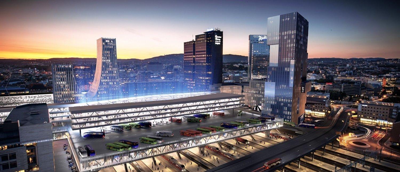 Slik har MAD arkitekter sett for seg en ny bussterminal - over togene på Oslo S. Men med mer skinnegående trafikk i Oslo, kan denne terminalen bli droppet.