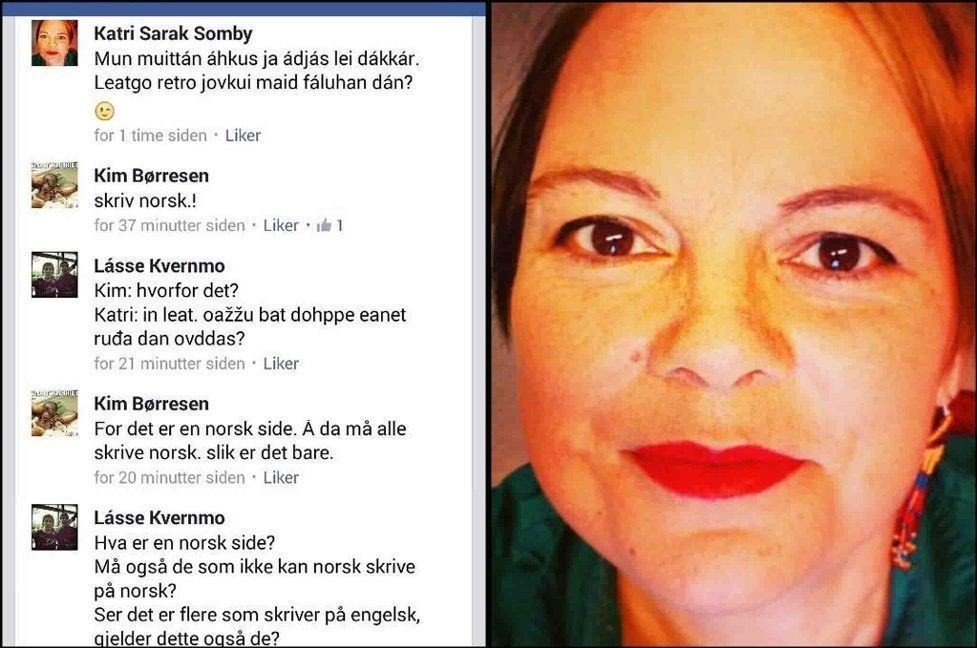 Da Katri Sarak Somby kommenterte på samisk i ei kjøp og salg-gruppe på Facebook tirsdag kveld, kom en reaksjon hun ikke hadde forventet.