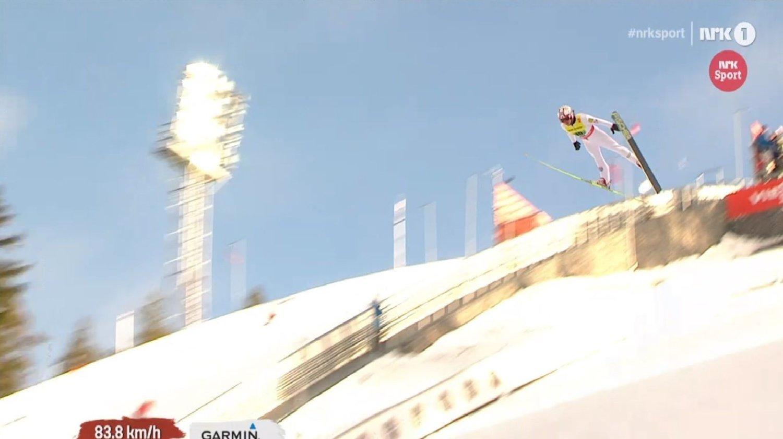 FORNØYD: Mikko Kokslien var kjempefornøyd med sitt hopp i lagkonkurransen.