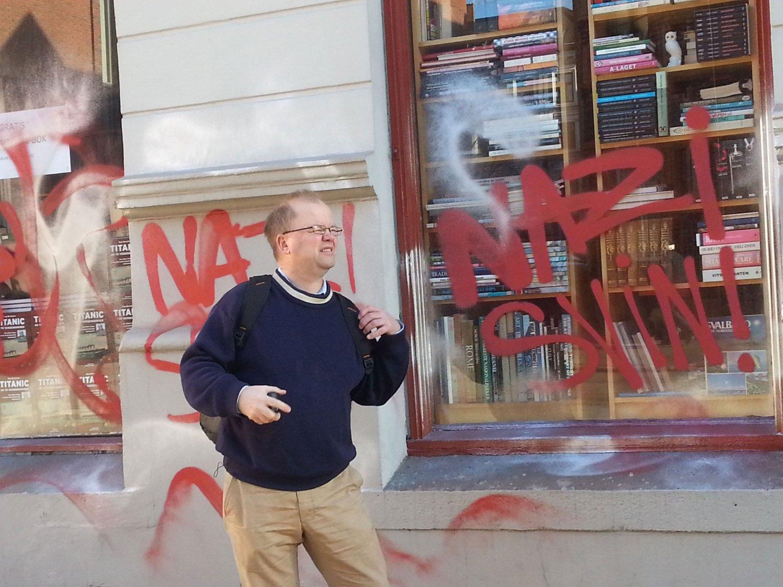 HÆRVERK: Dette var synet som møtte Pegida-talsmann Max Hermansen søndag.