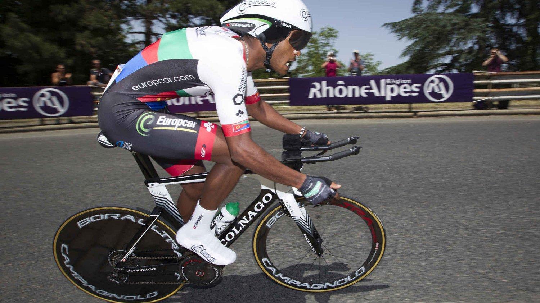 I GOD UTVIKLING: MTN-Qhubekas Natnael Berhane blir trukket frem som en spennende afrikansk rytter av Tour de France-legenden Bernard Hinhault. Her er Berhane i aksjon for Europcar under fjorårets tour.