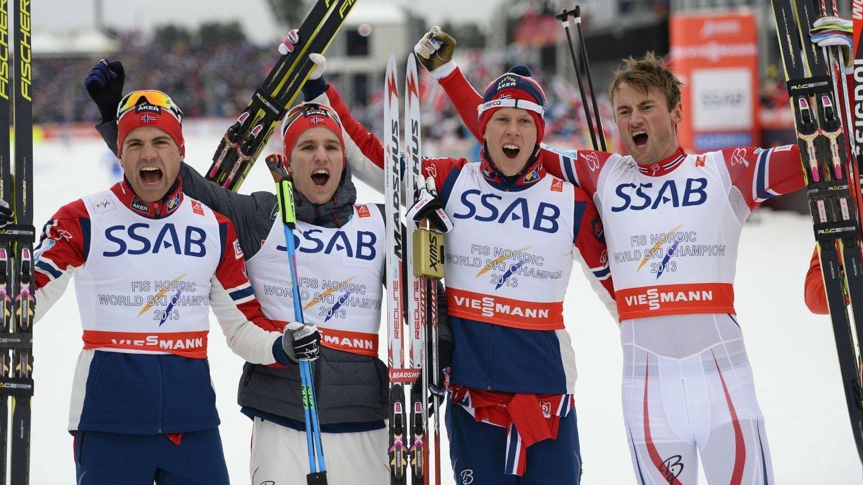 GULLVINNERE: Niklas Dyrhaug, Didrik Toenseth, Anders Gløersen og Petter Northug.