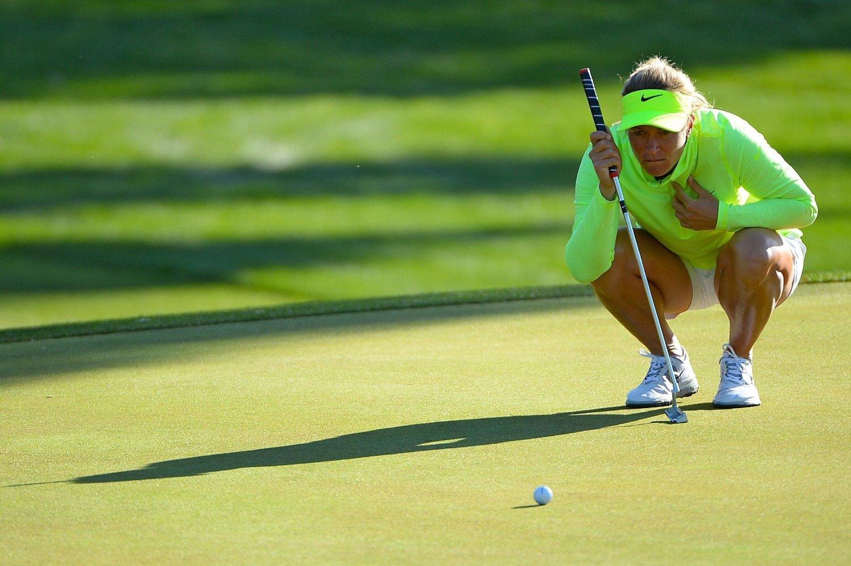 GRØNN TREGHET: Suzann Pettersen har fortsatt et stykke opp til de beste i årets første første majorturnering. Spillet på greenene har bydd på problemer flere av dagene i California.