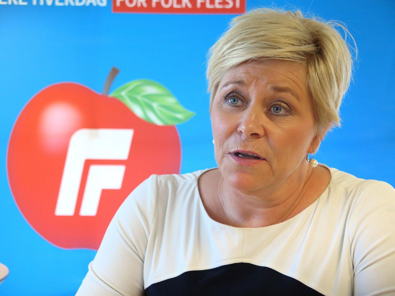 FrP-leder Siv Jensen under pressekonferansen i forkant av partiets landsmøte.