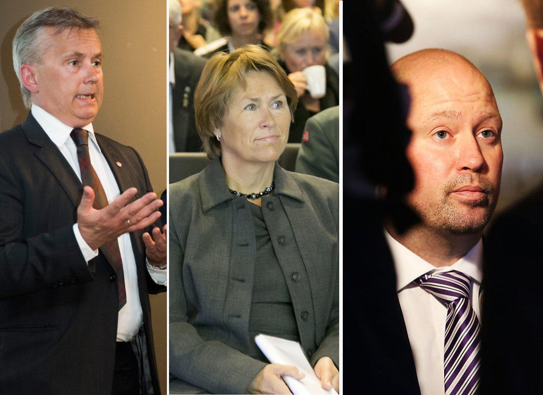 ANSVARLIGE: Knut Storberget (Ap) var justisminister 22. juli 2011, og er blitt etterfulgt av Grete Faremo (Ap) og Anders Anundsen (Frp).
