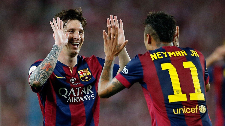 DØDELIG DUO: Lionel Messi og Neymar sørget for nok en tittel da de scoret alle målene i Copa del Rey-finalen mot Athletic Bilbao. FOTO: NTB scanpix