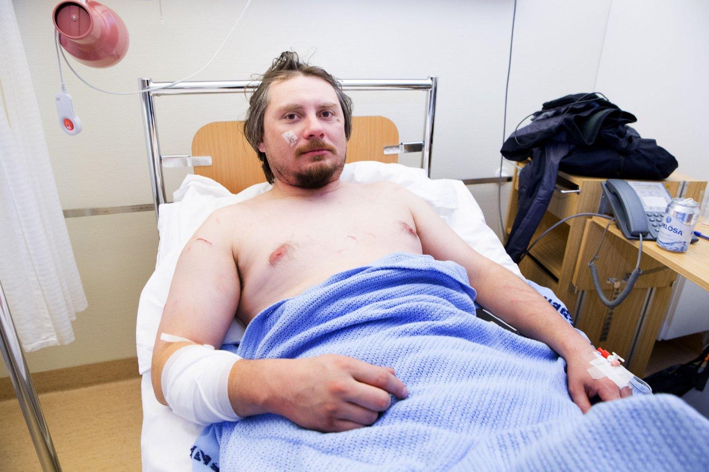Jakúb Moravec fra Praha i Tsjekkia var glad for å ha kommet fra isbjørnangrepet i live.