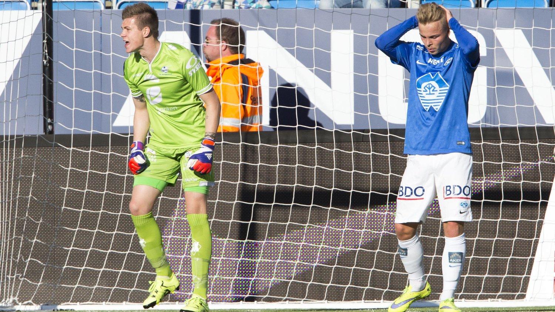 BRANT GIGASJANSE: Sander Svendsen satt ballen i stolpen etter å ha rundet keeper.