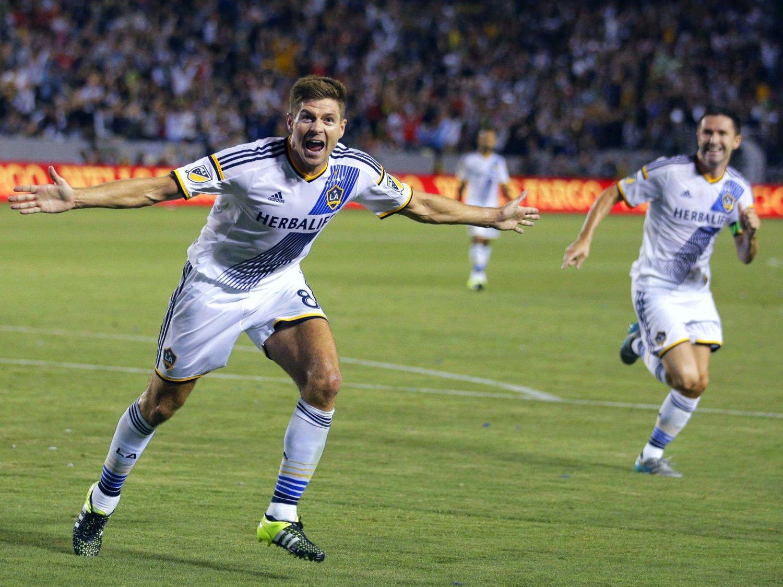 KJEMPEDEBUT: Steven Gerrard både scoret og bidro med målgivende for LA Galaxy mot San Jose Earthquakes.