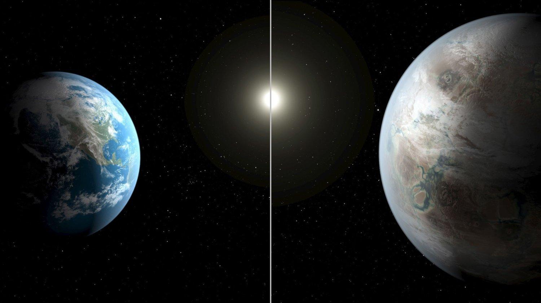 Illustrasjonen sammenligner jorden (til venstre) med planeten Kepler-452b (til høyre) som NASA mener er svært lik vår egen planet.