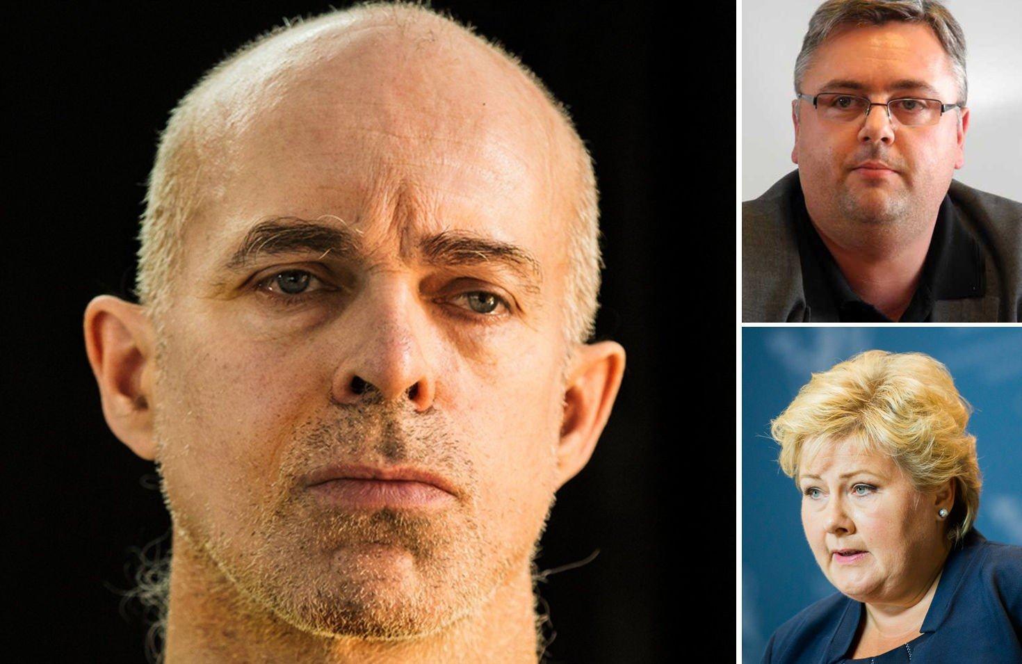KRITISERER SOLBERG: Terrorekspert Kjetil Stormark (øverst til høyre) kritiserer statsminister Erna Solbergs uttalelser etter at det ble kjent at nordmannen Ole Johan Grimsgaard-Ofstad (til venstre) er tatt som gissel av IS.