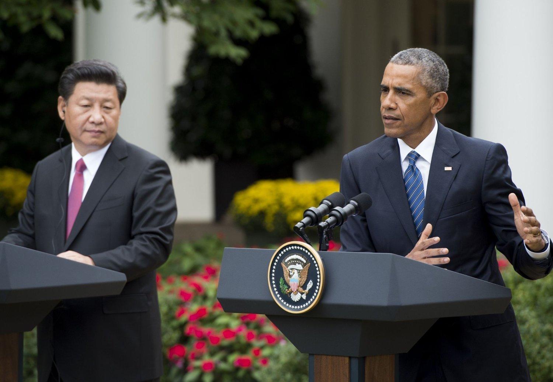 Barack Obama og Kinas president Xi Jinping under pressenferansen fredag.