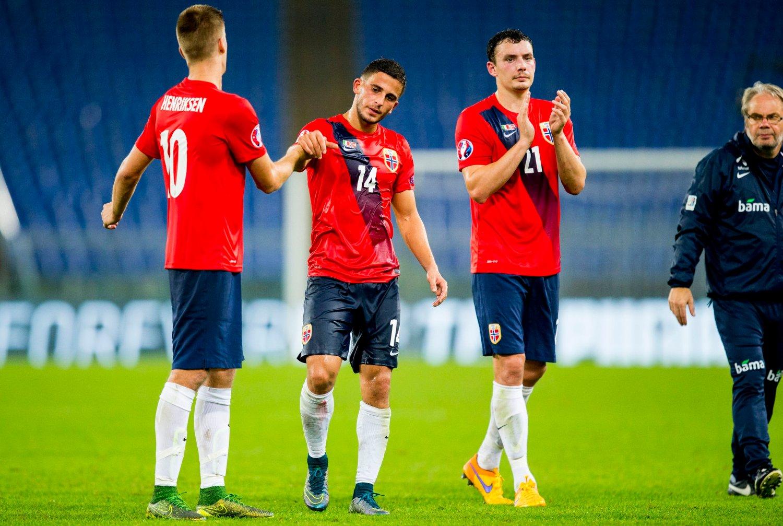 FAVORITTER? Markus Henriksen, Omar Elabdellaoui og Vegard Forren skal ut mot Ungarn i to kamper i november. I potten ligger EM-billett i 2016.