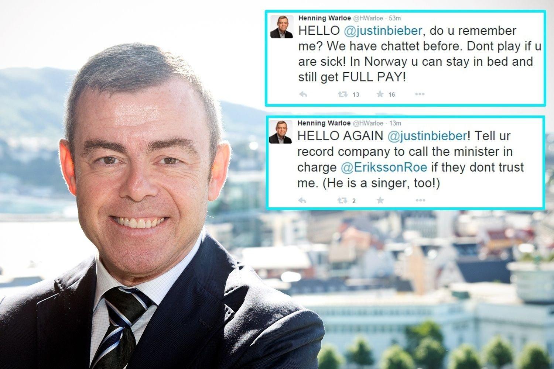 TIPSER BIEBER: Bergenspolitiker Henning Warloe med oppfordring til ungpikeidolet Justin Bieber.
