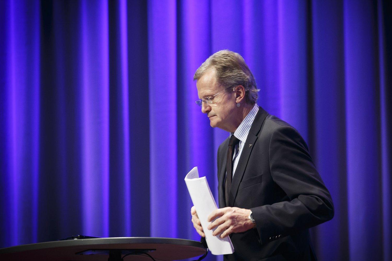 FORNEBU 20141029. Konsernsjef i Telenor Jon Fredrik Baksaas presenterer resultatene for tredje kvartal 2014.