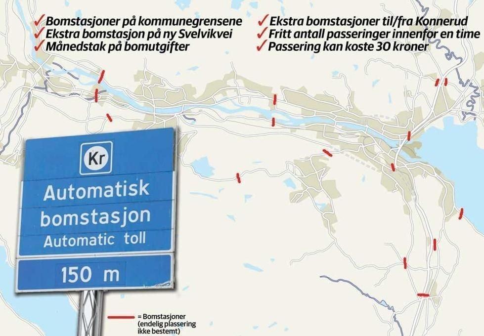 Drammensdistriktet vil få en rekke nye bomstasjoner om tre år.