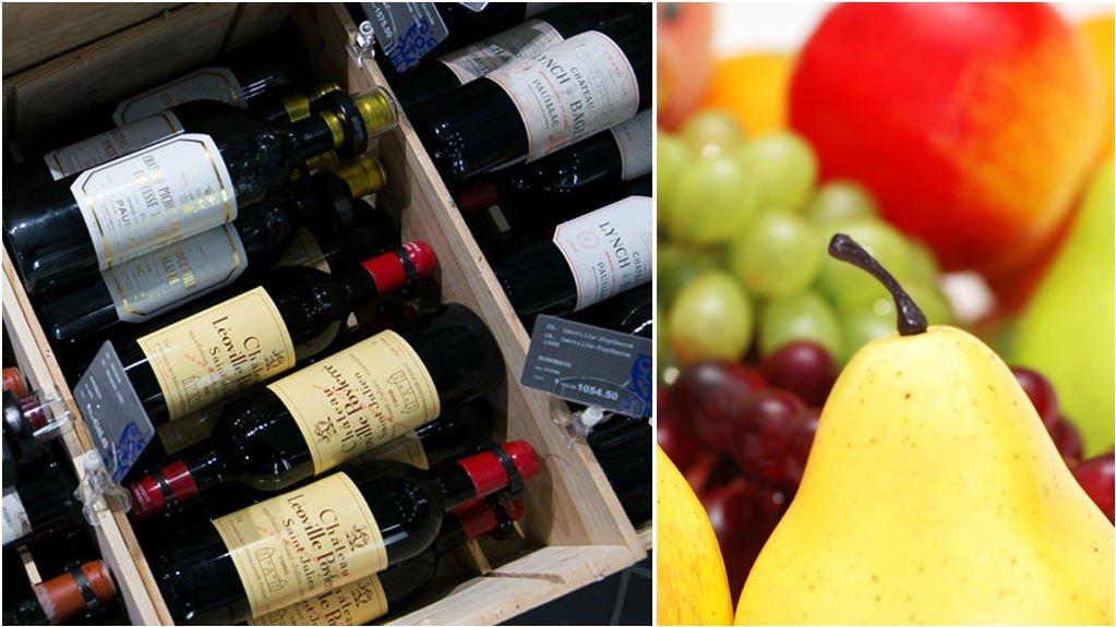 Senterpartiet vil ta én vinflaske fra taxfreekvoten og isteden bruke pengene til gratis skolefrukt.