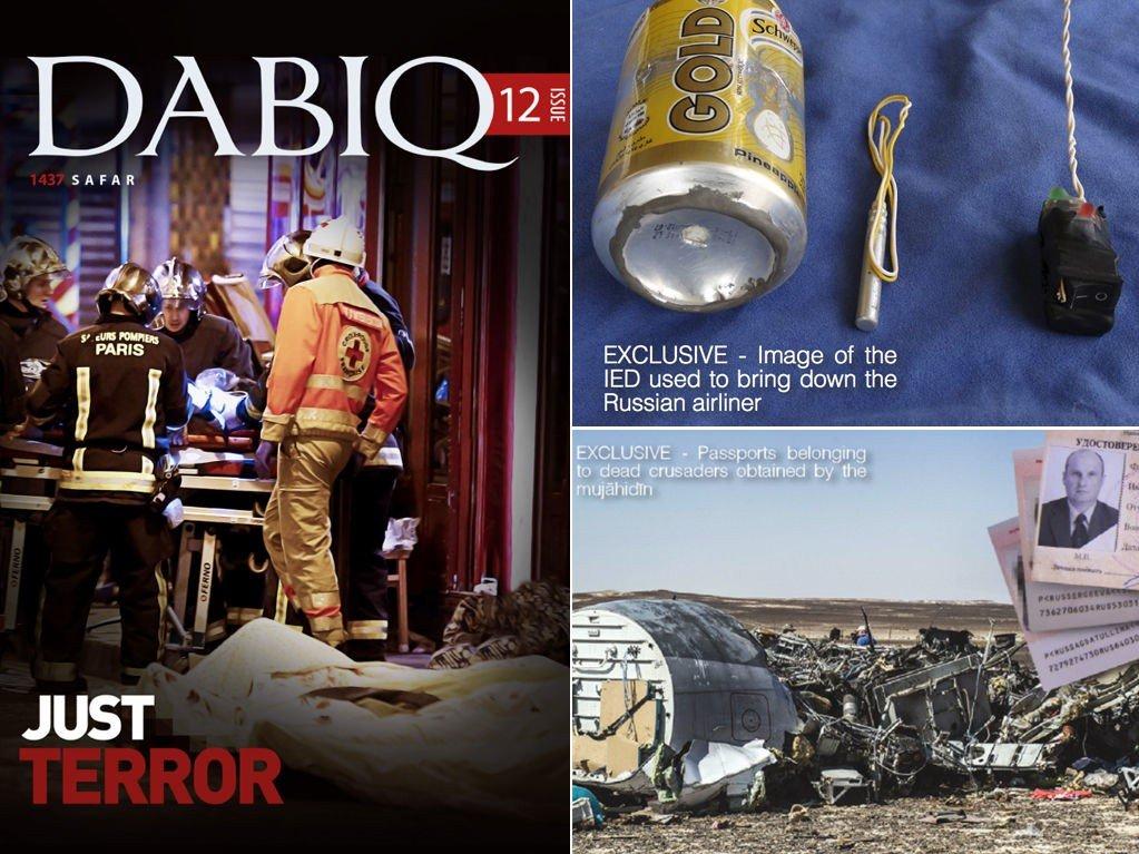 Fotomontasje av forsiden til propagandatidsskriftet Daqib og bilder som er publisert i magasinet. Brusboksen er angivelig den hjemmelagde bombet som ble smuglet om bord i det russiske passasjerflyet.