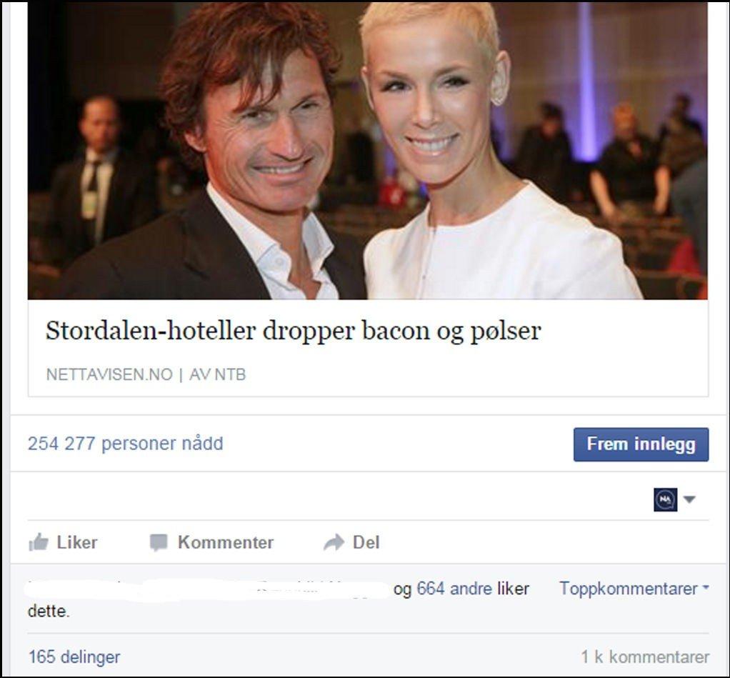 Mer enn 1000 personer har kommentert Nettavisens artikkel om Petter Stordalens beslutning om å fjerne bacon og pølser fra frokostmenyen på Comfort-hotellene.