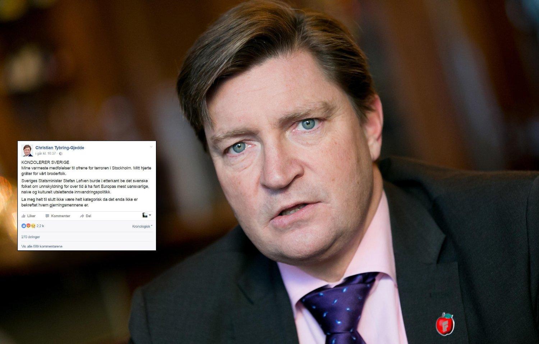 KRITIKK: Christian Tybring-Gjedde (Frp) får massiv kritikk etter sin kondolanse til svenskene, der han blant annet oppfordrer statsminister Stefan Löfven til å be det svenske folk om unnskyldning.