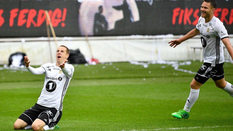 VANT: Rosenborg slo Strømsgodset på Lerkendal Stadion. Her jubler Milan Jevtovic for sin 2-0-scoring.