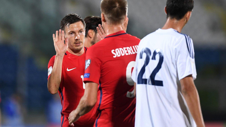 Martin Linnes scoret ett av målene da Norge slo San Marino 8-0 i VM-kvalifiseringen torsdag.