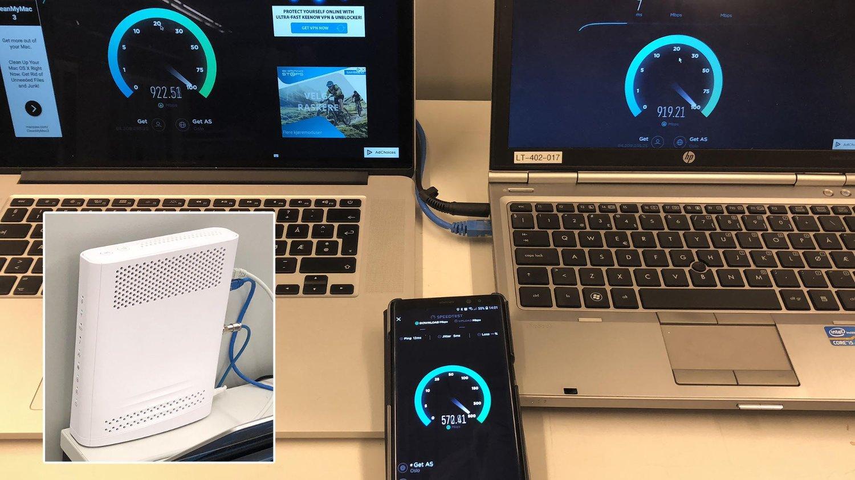 Her demonstrerer Get hvordan de med nytt utstyr kan levere svært høye hastigheter til både datamaskiner og mobiler samtidig.