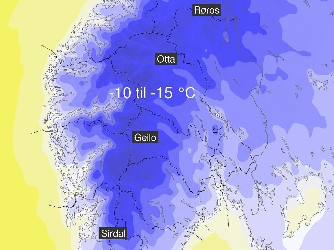 MINUSGRADER: Meteorologene venter tosifrede minusgrader i fjellet i Sør-Norge til helgen. Kartet viser temperaturprognosene for natt til søndag med blå farge som minusgrader.