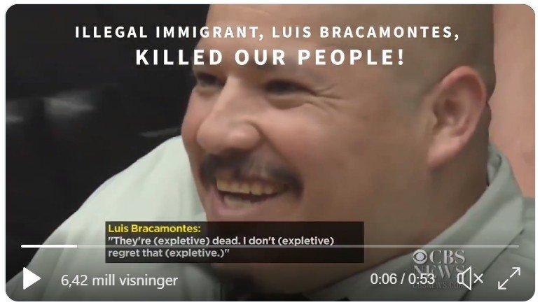 Faksimile fra Trumps valgkampvideo. Drapsmannen Louis Bracamontes blir trukket fram som skremmebilde selv om han ikke noe å gjøre med flyktningekaravanen overhodet.