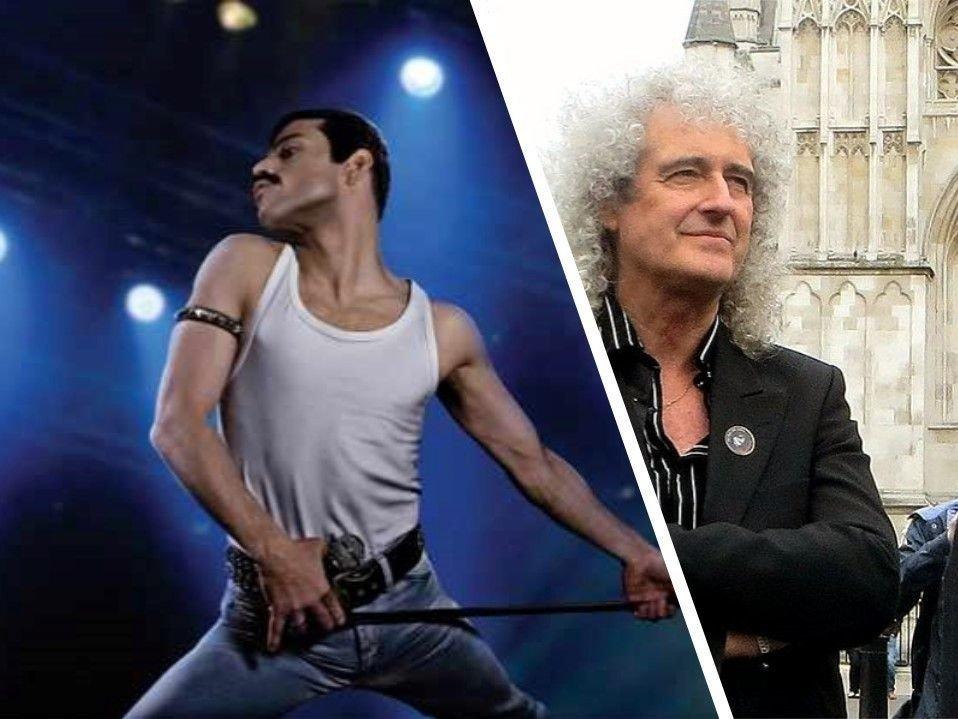 "Rami Malek i filmen ""Bohemian Rhapsody"" og Bryan May fra Queen"