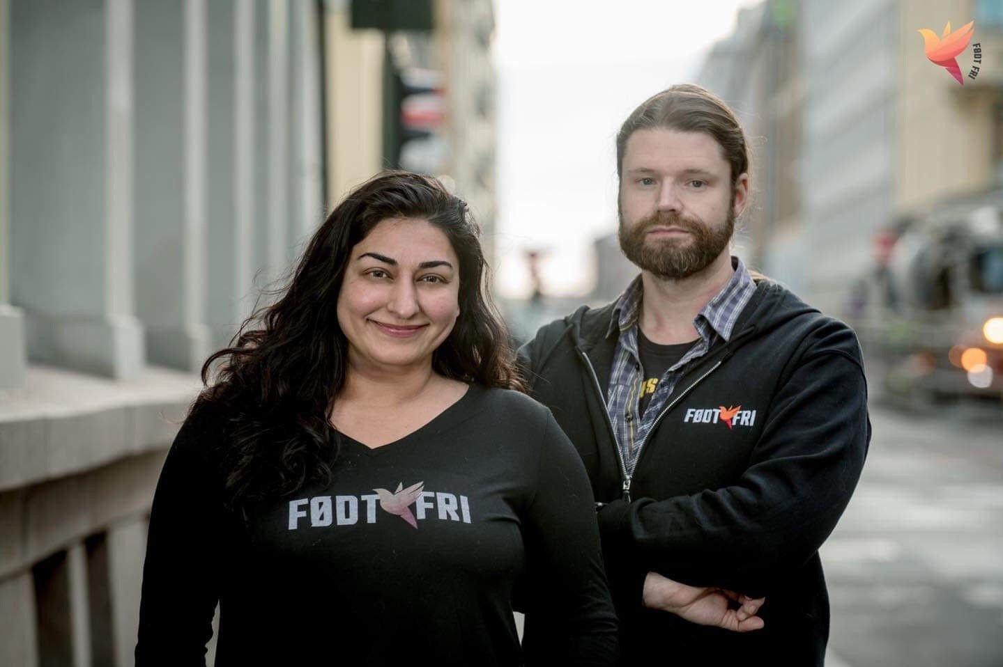 Shabana Rehman og Morten Guldberg fra organisasjonen Født Fri.