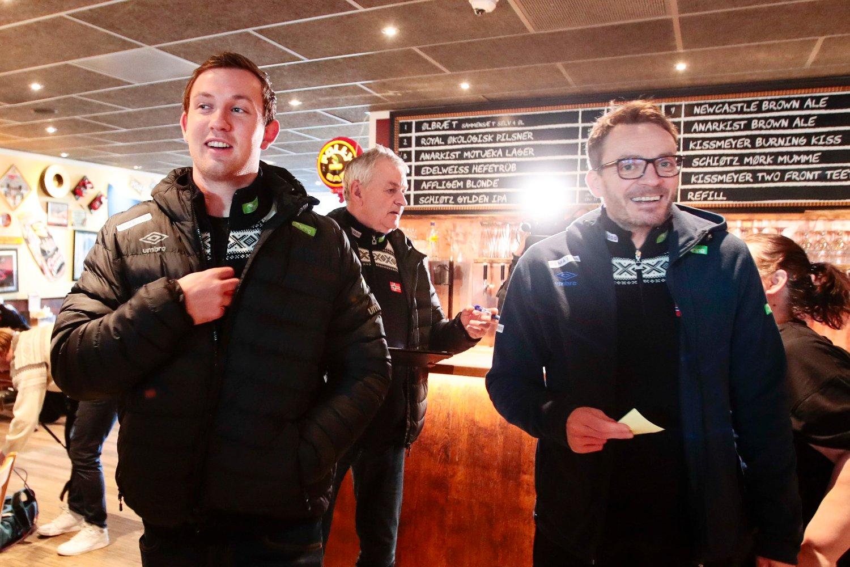 Sander Sagosen (til venstre) og trener Christian Berge møtte mediene i Herning fredag. Foto: Lise Åserud / NTB scanpix