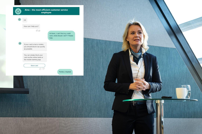 FREMGANG: Aino (innfelt) besvarer nå en stor andel av henvendelsene til DNB og DNBs sjef for personmarkedet, Ingjerd Blekeli Spiten.