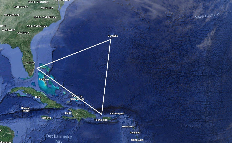 BERMUDATRIANGELET: Dette triangelet utgjør en seiglivet myte, men statistikken viser at det ikke forsvinner unormalt mange båter og fly i dette havområdet. Triangelet strekker seg mellom Bermuda i øst, Puerto Rico i sør og Florida i vest, og dekker et havområdet på 2,5 millioner kvadratkilometer.