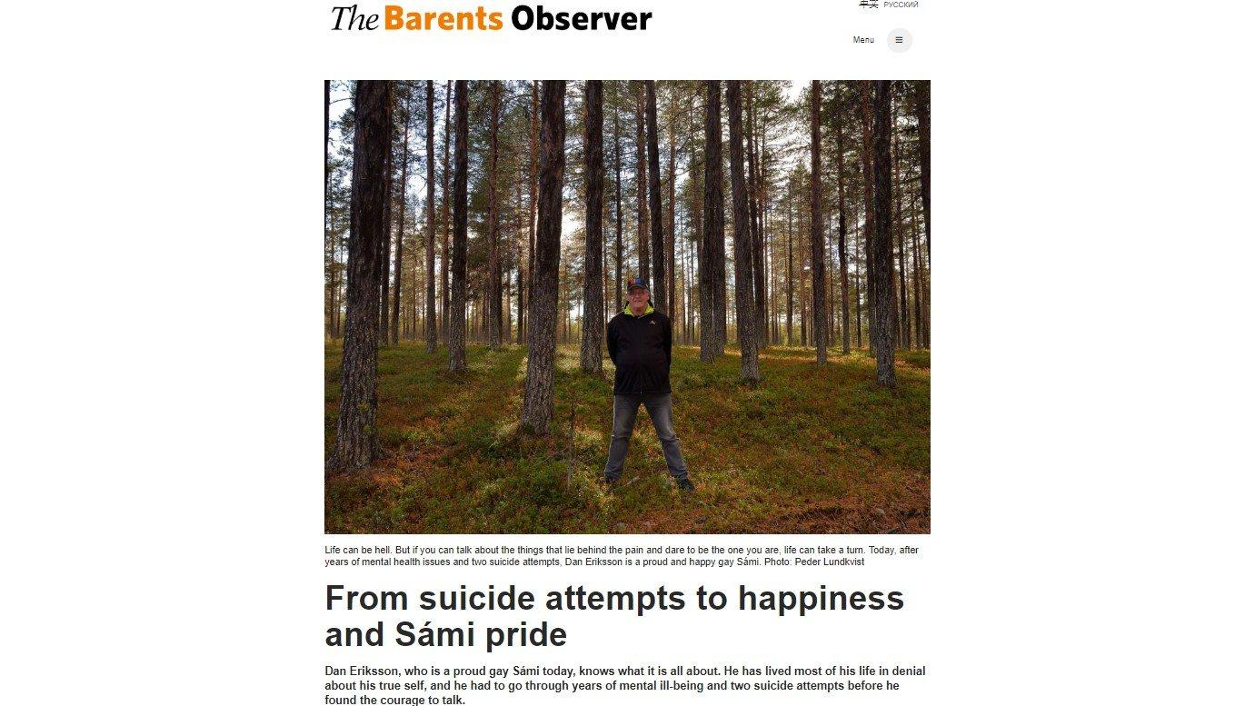BANNLYST: Det var på grunn av denne artikkelen, om den homofile samiske mannen Dan Eriksson, at The Barents Observer ble blokkert av Russland.