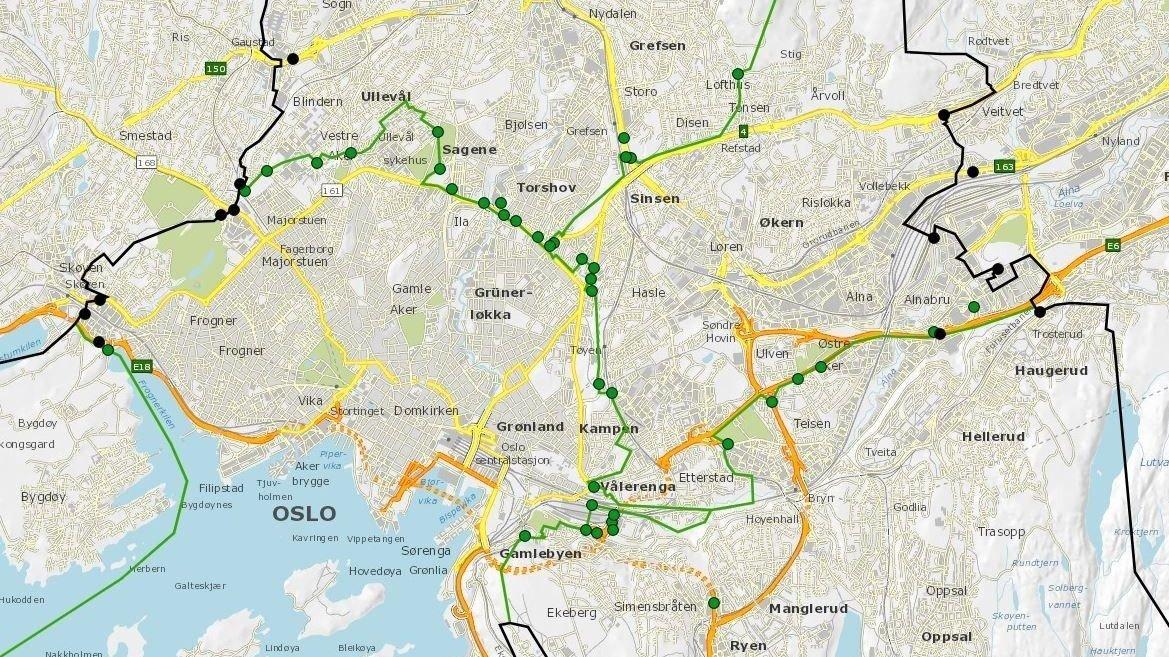 BOMSTASJONER: Dette kartet viser noen av de nye bomstasjonene som vil komme i Oslo.